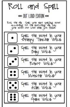 The children absolutely love this spelling game. All you need is a dot cube and … The children absolutely love this spelling game. All you need is a dot cube and the spelling word list. I just love to listen to your child… Spelling Word Activities, Spelling Word Practice, Spelling Words List, Spelling Homework, Vocabulary Games, Vocabulary Strategies, Listening Activities, Learn Spelling, Homework Games