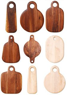Earlier today, we posted on Portland, Oregon, Italian restaurant Luce, where we admired the wall display of sculptural walnut wood cutting boards. Diy Cutting Board, Wood Cutting Boards, Chopping Boards, Diy Wood Projects, Wood Crafts, Woodworking Crafts, Woodworking Plans, Kitchen Gifts, Charcuterie Board