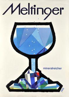 Celestino Piatti, poster for mineral water, Meltinger, Switzerland. Graphic Design Posters, Design, Illustrations Posters, Vintage Art, Water Poster, Illustration Design, Vintage Graphics, Vintage Poster Art, Vintage