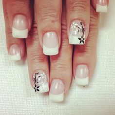 french manicure with flower accent nail - Google Search
