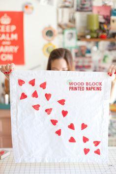DIY: wood block printed napkins