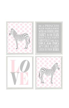 Hey, I found this really awesome Etsy listing at https://www.etsy.com/listing/190940533/zebra-nursery-art-gray-pink-polka-dots