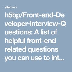 Perfect Front End Developer Interview Questions   A List Of Helpful Front End  Related Questions You Can Use To Interview Potential Candidates, Test  Yourself Or ...