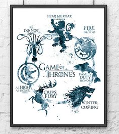 Game of Thrones Watercolor Print, Game of Thrones Art, Movie Poster,House Targaryen Stark Lannister, Wall Art, Home Decor, Gray - 496-1