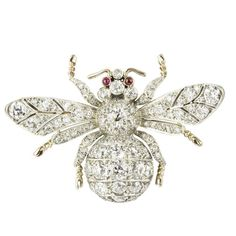 This adorable Bentley & Skinner bee brooch is set with old brilliant-cut diamonds, ruby cabochon eyes and lifelike legs (£32,500)