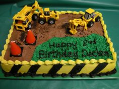 construction birthday cakes for kids Truck Birthday Cakes, 3rd Birthday, Digger Birthday Cake, Birthday Ideas, Cupcakes, Cupcake Cakes, Digger Cake, Construction Birthday Parties, Construction Theme Cake