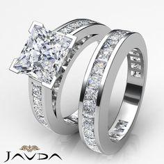 Princess Cut Diamond Bridal Set Engagement Ring GIA G SI1 14k White Gold 4.25 ct #Javda #SolitairewithAccents