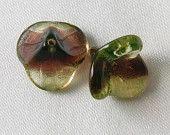 6 pcs - 16mm x 14mm Glass Trumpet Bell Flower Beads Green & Brown