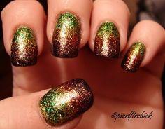 Amazing autumn nail polish. Green, gold, rust, brown.