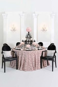 The sculpted roses on these table linens would mimic the sculpted rose skirts of our dream bridesmaids' dresses. #ProjectDressMe