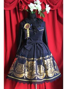 Printed Pattern Bow Sweet Rococo Lolita Apron Dress