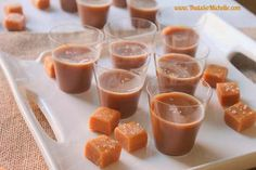 Salted Caramel Jello Shots and lots of other Jello Shooters Party Drinks, Fun Drinks, Yummy Drinks, Shots Drinks, Alcoholic Beverages, Party Party, Party Ideas, Party Time, Dessert Shots