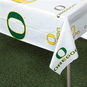 "Oregon Ducks White Team Logo 54"" x 108"" Plastic Tablecover#Ultimate Tailgate #Fanatics"