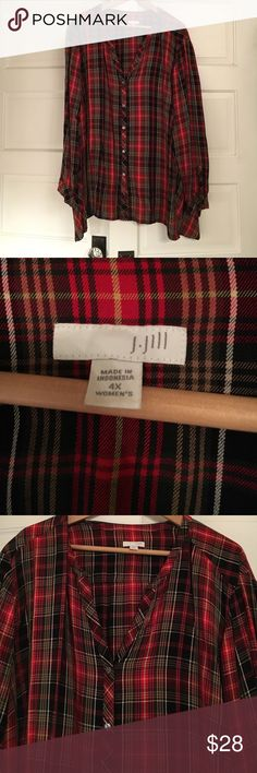 Plaid button down top Gorgeous like new. The holidays are coming ! Light and comfortable J Jill well made and flattering cut. Great with black pants on long black skirt! J. Jill Tops Tunics
