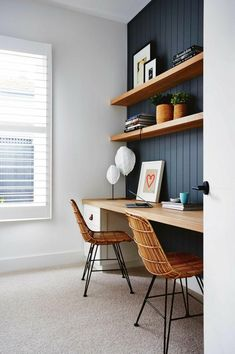 Home Office Furniture Wood . Home Office Furniture Wood . Home Office In Black and White Colors Wooden Desk Monstera Home Office Space, Home Office Design, Home Office Decor, Office Furniture, Office Designs, Home Office Shelves, Home Office Bedroom, Interior Office, Modern Furniture