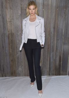 Revving engines! Karlie Kloss went for understated chic in a white leather motorcycle jack...