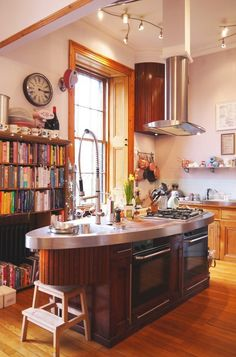 This vibrant Scottish kitchen features fittings reclaimed from a ship.