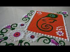Easy Ganesha Rangoli Designs by Shilpa's Creativity Rangoli Designs Latest, Rangoli Designs Flower, Rangoli Designs Diwali, Diwali Rangoli, Rangoli Designs With Dots, Ganesha Rangoli, How To Drow, Rangoli Colours, Free Hand Rangoli Design