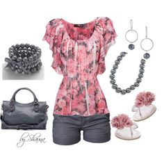 Flutter rose kimono top with dark gray accents, created by shauna-rogers on Polyvore