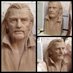 Lemmy from Motörhead, portrait study for Steven Whyte's life size (110%) portrait full figure statues for Stoke-on-Trent, England and LA's Sunset Strip!