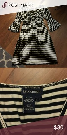 Max Edition Striped Sleeve Dress Max Edition Black and White Striped Bell Sleeved Dress. Worn lots but in great shape still. Max Edition Dresses