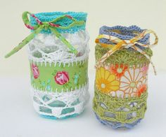 Crochet & woven fabric jam jar cover pattern by OneHalfTreble