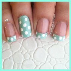 Mint  polka dots ⚪ french tip nails with polka dots and accent polka dot nail   Instagram: monjen99_nails