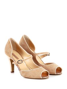 Gaia D'Este - Scarpa con tacco - Donna - Scarpa con tacco open toe in camoscio traforato con cinturino su collo piede e suola in cuoio. Tacco 90. - NUDO - € 215.00