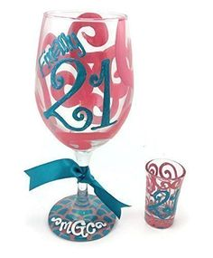 """Hand Painted Personalized Finally 21 Monogram Wine glass and Shot Glass Coral and Teal. Picture 1: 20 oz White wine glass with """"Finally 21"""" in teal. Top design is coral swirls. Base design is coral and teal scallops. Matching shot glass saying """"21"""". This item can be personalized with a name, monogram or date on base if you like. Any choice of base design and colors. All orders are hand-painted with a washable, durable glass paint and fired to ensure longevity. No stickers, stencils…"""