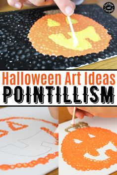 Looking for a fun Halloween project that works for home or at school? This is a great fine motor skill art project that engages kids and helps them celebrate the season safely! Keep Halloween safe and fun for everyone with this Halloween Craft Idea. Create this pumpkin art with Pointillism and make a meaningful and gorgeous pumpkin art project. This jack o'lantern pumpkin art project is perfect as a Halloween craft on canvas or as a fall card. Halloween Class Party, Halloween Books, Halloween Projects, Halloween Kids, Projects For Kids, Art Projects, Pumpkin Books, Pumpkin Art, Kid Friendly Art