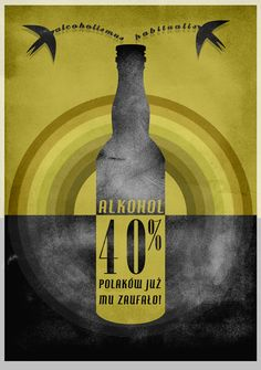 Produkty podobne do Alcohol. Original poster signed by Marek Sienkiewicz w Etsy Alcohol Bottles, Illustrations And Posters, Home Art, Vintage Posters, Graphic Art, Retro Vintage, Monitor, Infographic, Fan Art