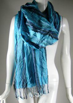 MICHAEL STAR Blue Striped Viscose Scarf Wrap Shawl  #MichaelStar #Scarf