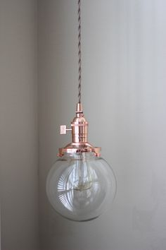 Pendant Lighting Copper 6 Clear Gl Globe Cloth Wire Plug In Or Ceiling Canopy Mount Edison Bulb Compatible By Illuminatevintage On Etsy
