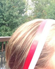 One Up Red and White Stripe Non Slip Headband