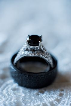 Black Engagement Ring - Elegant Purple and Gray Beach Wedding Ormond Beach, FL -  Photo by Leah Dorr Photography - click pin for more - www.orangeblossombride.com