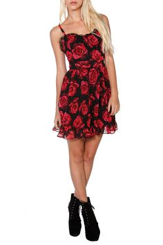 Clothing | Hot Topic  ROYAL BONES RED PAINTED ROSE DRESS  $39.50