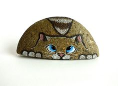 Hand Painted Rock Cat. Petrified Cat by qvistdesign on Etsy
