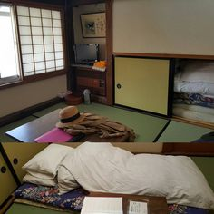 A tatami room and my first attempt at trying to lay out my own futon with instructions at the side. These mattresses were heavy man and I don't think I got the lay out correct. The fluffy blanket looks more like a caterpillar. Nevertheless it was very comfortable. #futon #takayama #hidatakayama #gifu #japan #journey #japanadventures #roadtrip #ryokan #minshukusosuke #kaiseki by cradled