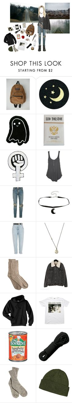 """""""zombie apocalypse"""" by seven-moths ❤ liked on Polyvore featuring JanSport, Moleskine, Topman, Hot Topic, River Island, Solow, Bamford, Dr. Martens, Rothco and Patagonia"""