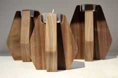 Nordik Walnut Candle Holders by SacanellDesign made in Denmark