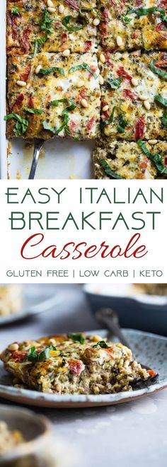 Low Carb Pesto Italian Sausage Breakfast Casserole - This easy, keto-friendly breakfast egg casserole is loaded with cheese and Italian flavors! A perfect, make-ahead breakfast or brunch that's gluten free and healthy! | #Foodfaithfitness | #Keto #Lowcarb