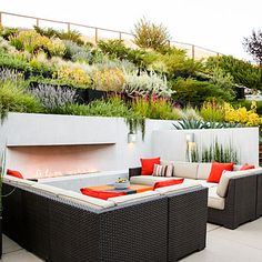 Outdoor lounge area at bottom of slope