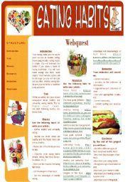 English worksheet: Eating Habits - Webquest