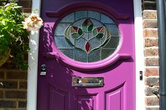 Front Door With Leaded Glass Painted Purple And Fitted In London And External Doors Bespoke period wooden,Victorian Edwardian and Georgian style Front doors and Sash windows,Supplied and fitted across London and the home counties Leaded Glass, Stained Glass, Glass Doors, 1930s Doors, 1930s House, External Doors, Sash Windows, Front Doors, Victorian