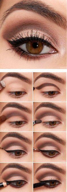 Diferentes estilos de delineado para ojos marrones | maquillaje de ojos paso a paso día - maquillaje de ojos de dia morenas - ojos marrones maquillaje paso a paso. #maquillaje