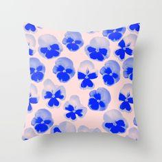 PANSY Throw Pillow by Rhianna Ellington I #society6 #RhiannaEllington #homedecor #blue #pillow