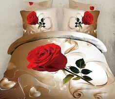 New Arrival First Class Skin Care Graceful Single Rose Print 4 Piece Bedding Sets bed & bath inn Bedding And Curtain Sets, 3d Bedding Sets, Queen Bedding Sets, Comforter Sets, Bedding Decor, Bed Sets, Bed Sheet Sets, Beautiful Bedding Sets, Black Bed Linen