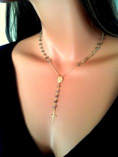 Yolanda Foster Inspired Rosary Necklace Labradorite Rosary Necklace Womens by divinitycollection on Etsy, $90.00