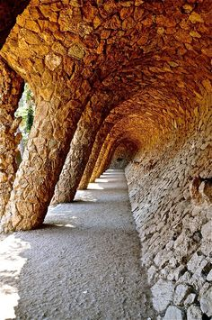 Park Guell, designed by Gaudi- Fashion shows here with the archway as the catwalk. How cool!