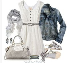 White Spring Outfit,denim jacket, white dress and sandles
